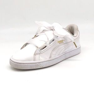 Puma Basket Heart White Patent Leather Sneakers